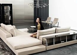 Угловые диваны с полкой – удобное дополнение для комфортной гостиной