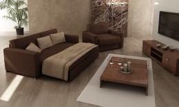 Прямой выкатной диван и модели с ящиком для белья — компактность и практичность