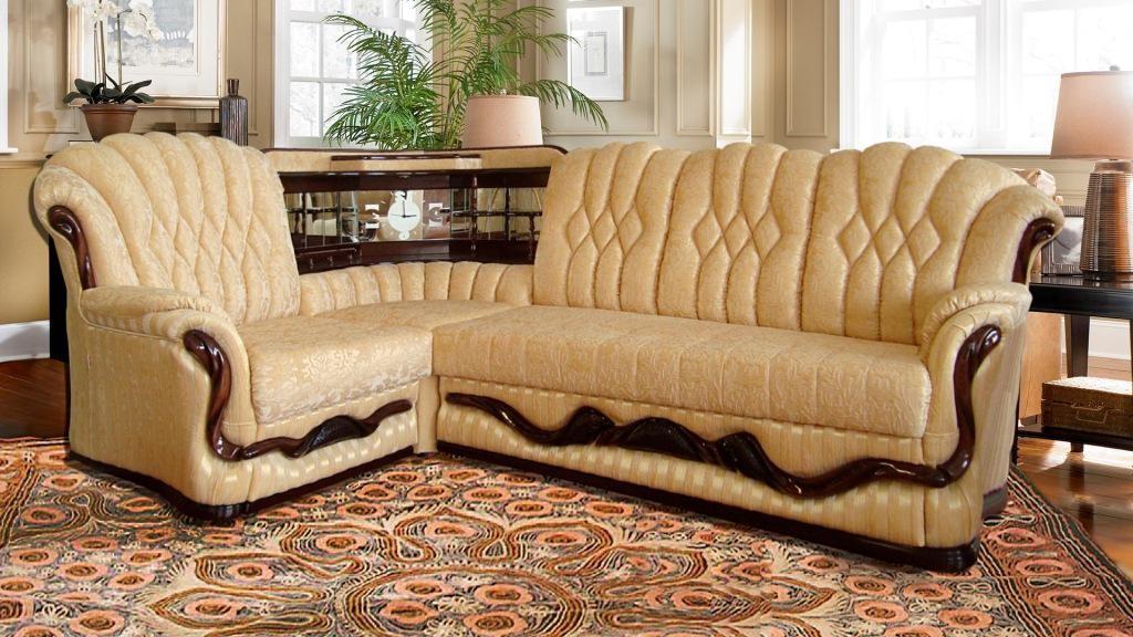 Угловой диван с баром: зеркальным, в углу, с подсветкой, фот.