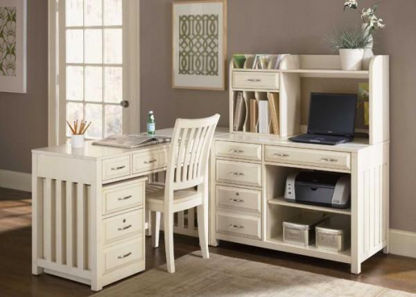 Белый глянцевый письменный стол с надстройкой (лак)