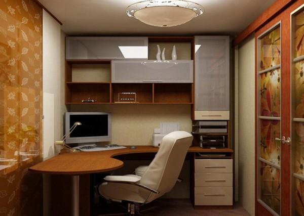 Фото большого углового компьютерного стола с надстройкой и шкафчиками 1