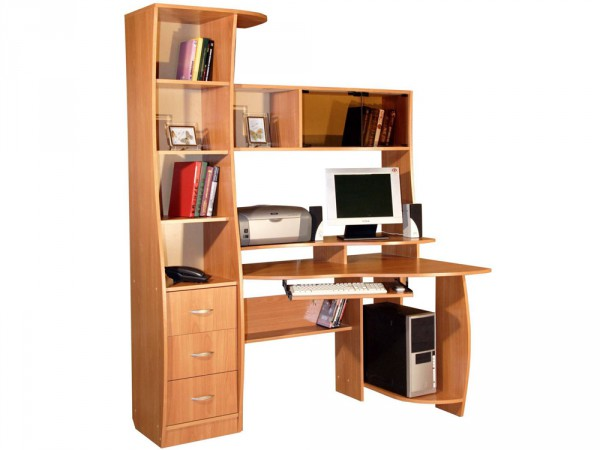 Фото компьютерного стола с надстройкой и шкафчиками