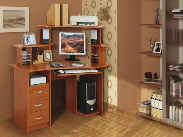 Фото компьютерного стола с надстройкой и шкафчиками Линвуд