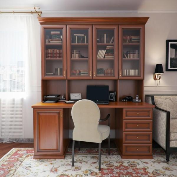 Фото письменного стола с ящиками и надстройкой