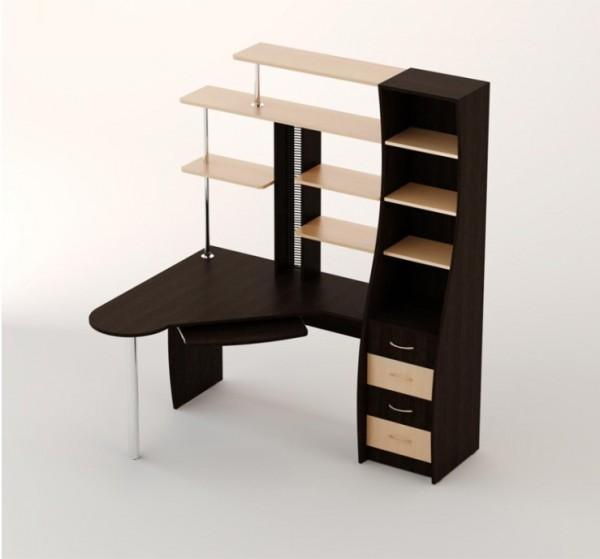 Фото углового компьютерного стола с полками и ящиками