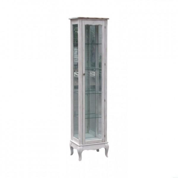 Фото узкого книжного шкафа со стеклянными дверцами