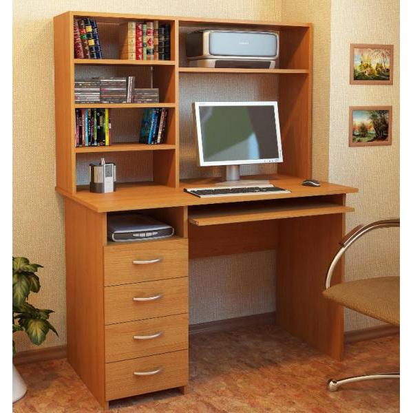 компьютерный стол с надстройкой со шкафчиками ящиками пеналом