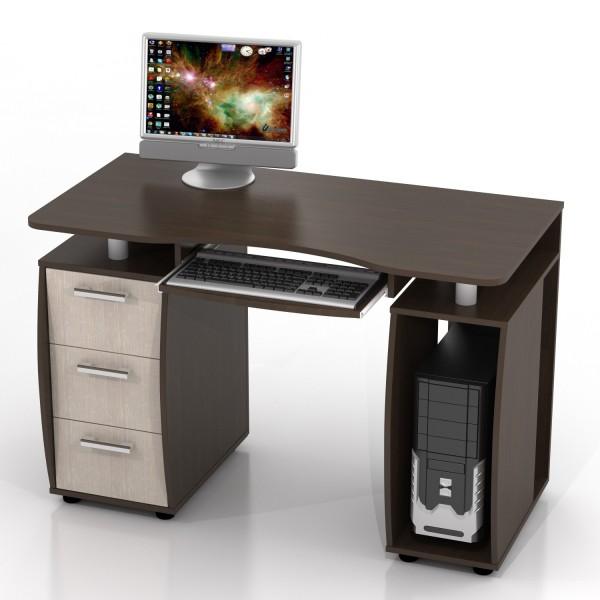 Компьютерный стол цвета венге и беленого дуба