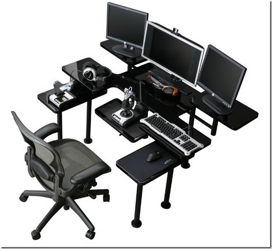 Стильный компьютерный стол с полкой