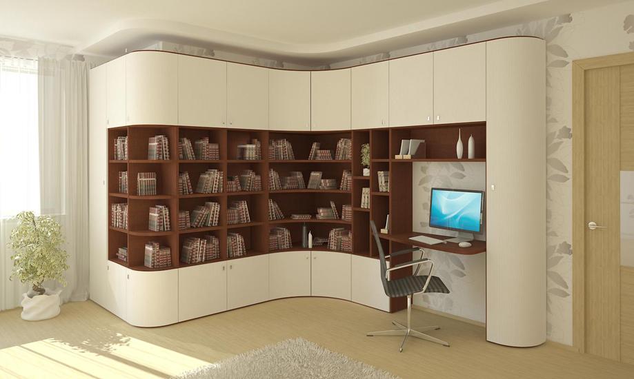 Угловые книжные шкафы: со стеклом, невысокие, белые.