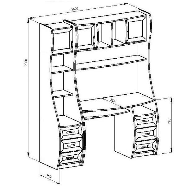 Чертеж письменного стола с размерами OFFICE /CRAFT ROOM 18