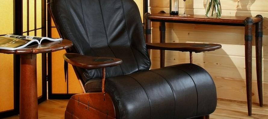 кожаное кресло качалка с подставкой для ног и без