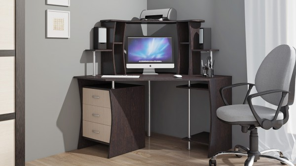 угловой компьютерный стол венге молочный дуб