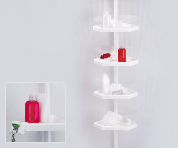 Белая пластиковая полка для ванной комнаты