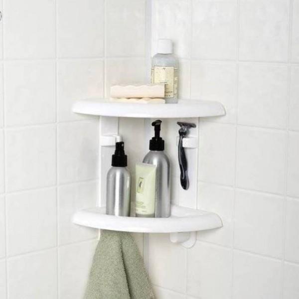 Фото пластиковой полочки для ванной комнаты белой