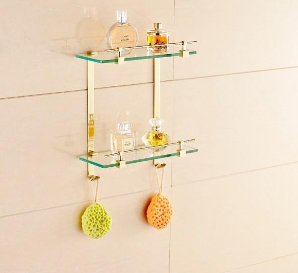 Фото стеклянной полки в ванной комнате (40 см)