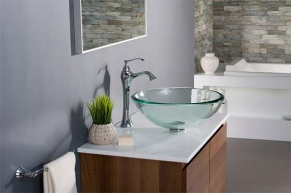 Фото стеклянной раковины с тумбой в ванную комнату