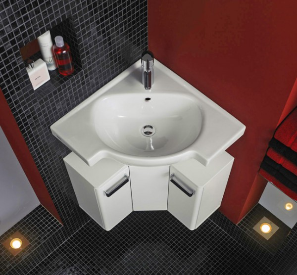 Фото угловой раковины в ванную комнату