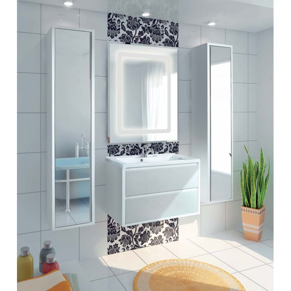 Шкаф - пенал для ванной комнаты с зеркалом