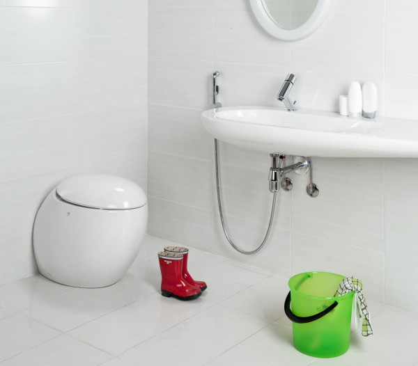 Смеситель с гигиеническим душем в дизайне ванной комнат