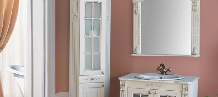 Зеркальные навесные комоды в ванную угловые