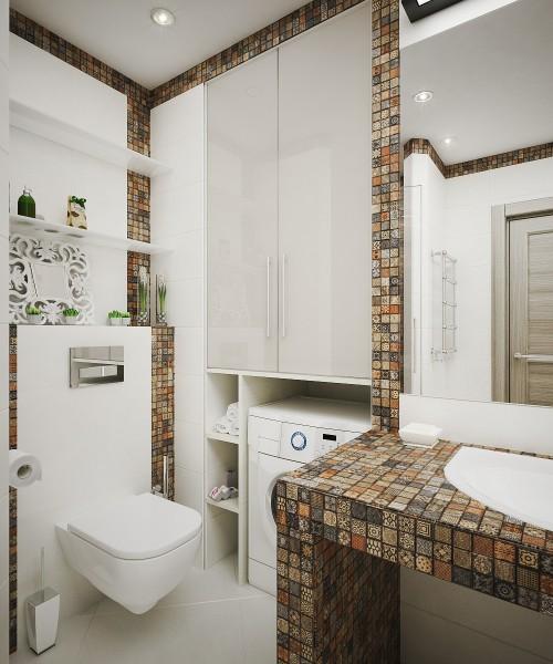 Встроенный шкаф в нишу ванной комнаты