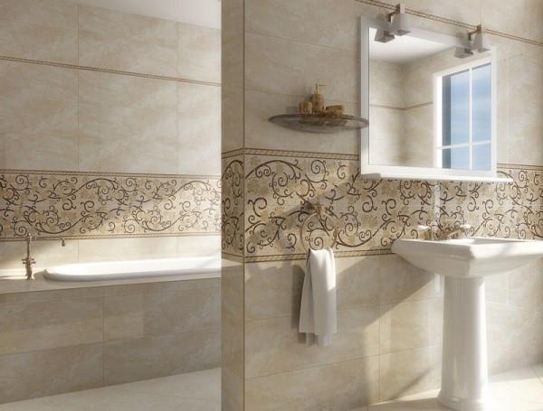 кремовое зеркало в ванной с полкой