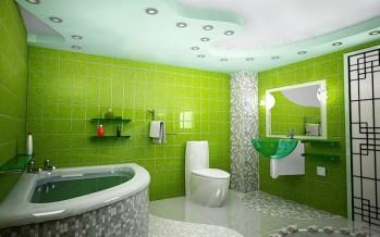 подвесная раковина с тумбой для ванной в зеленых оттенках