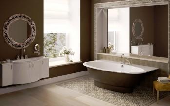 раковина в ванную комнату в коричневы тонах