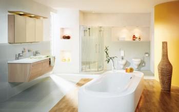 тумба напольная с корзиной для белья в ванной