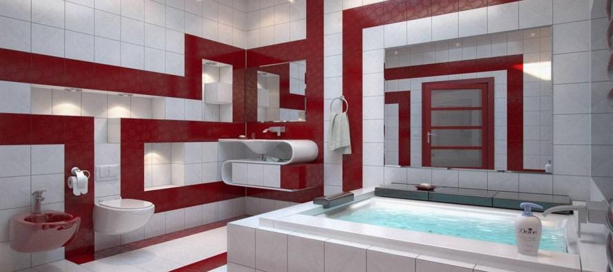 тумбы с зеркалом для ванной в белом и красном цветах